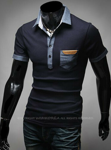Nouvelle Mode Hommes Stylish Moderne Collier Pique Polo Casual T-Shirts Top F337