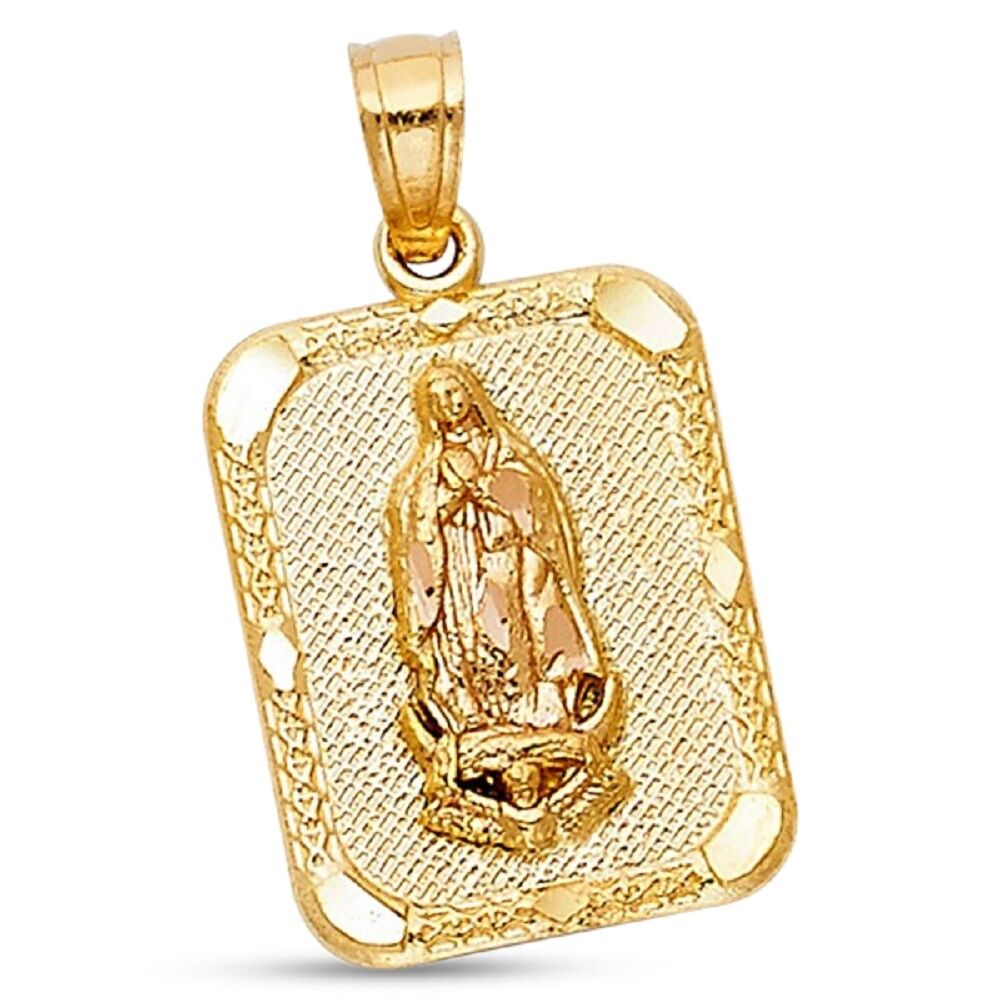 Lady Guadalupe Portrait Pendant Solid 14k Yellow & pink gold Virgin Mary Charm