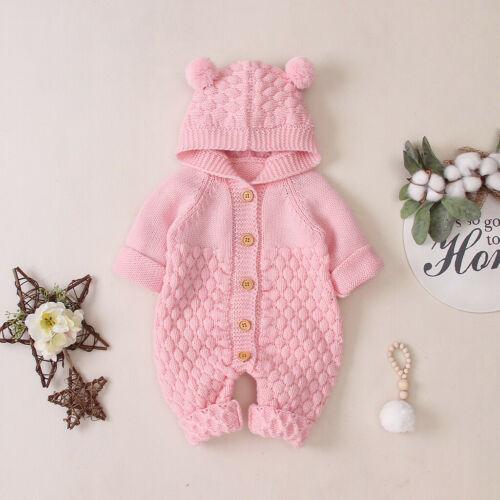 Toddler Baby Boy Girls Winter Romper Jacket Hooded Jumpsuit Outwear Sweater Kq