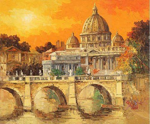 Antonio Di Viccaro  Roma-Il Cupolone terminé-image 60x80 La Fresque Rome Antique