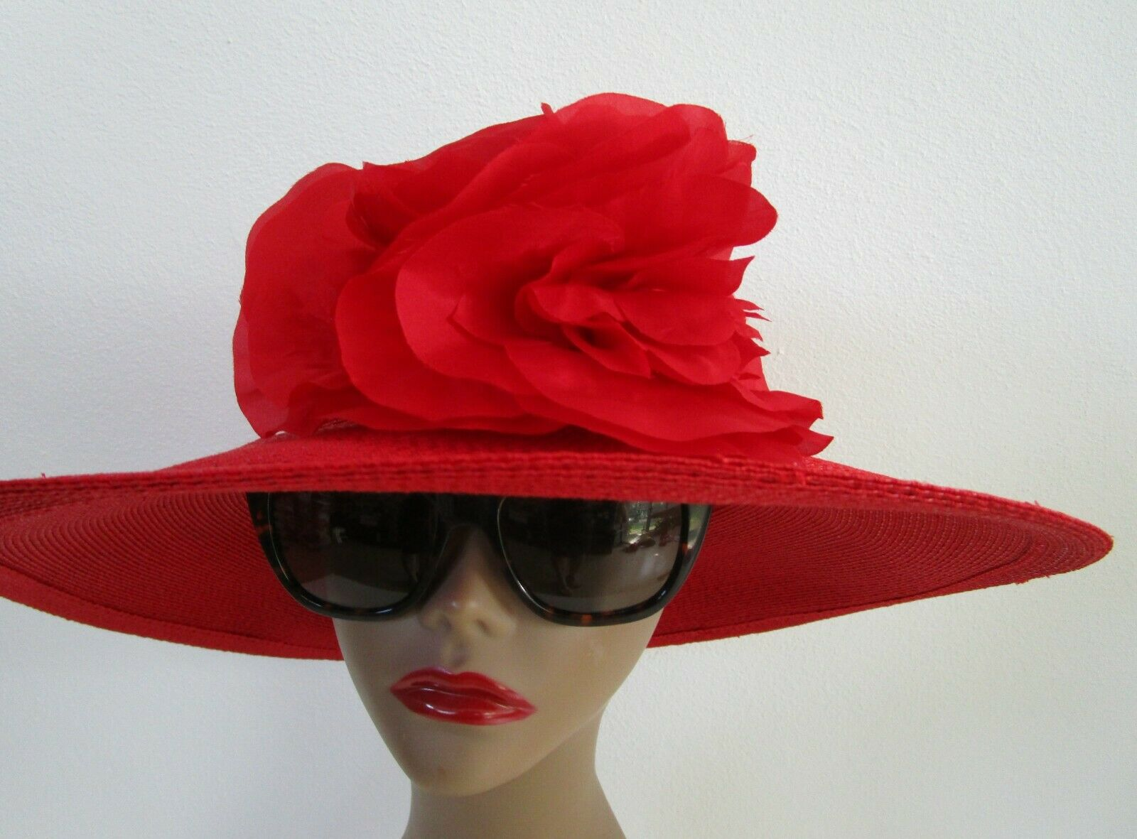 Patricia Underwood Red Wide Brim Hat Silk Flower … - image 4