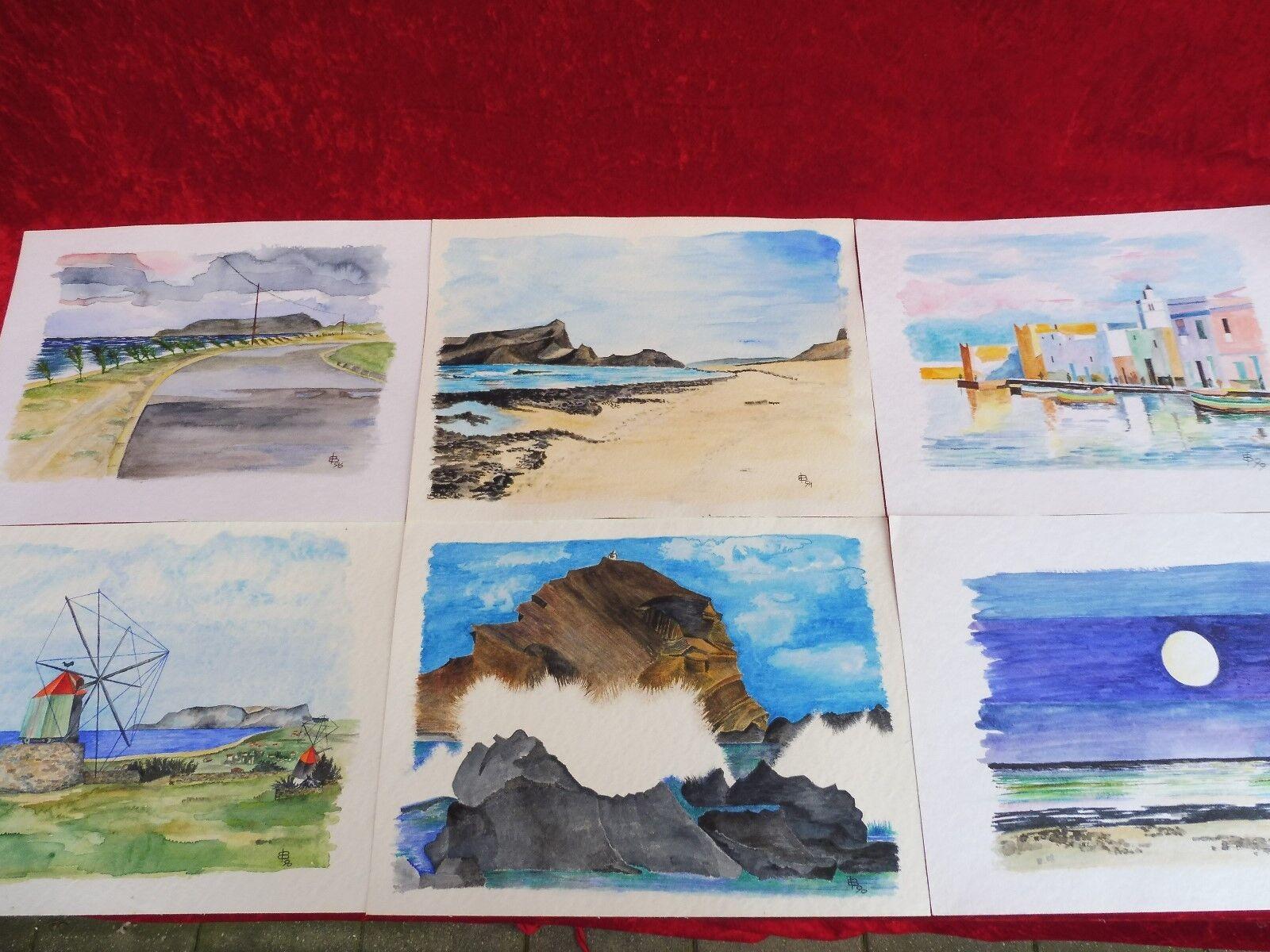6 schöne , gemalte Bilder__Aquarelle __Landschaften...__signiert__