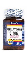 Basic Vitamin Melatonin 3mg - helps insomnia and jet lag, 200 tabs