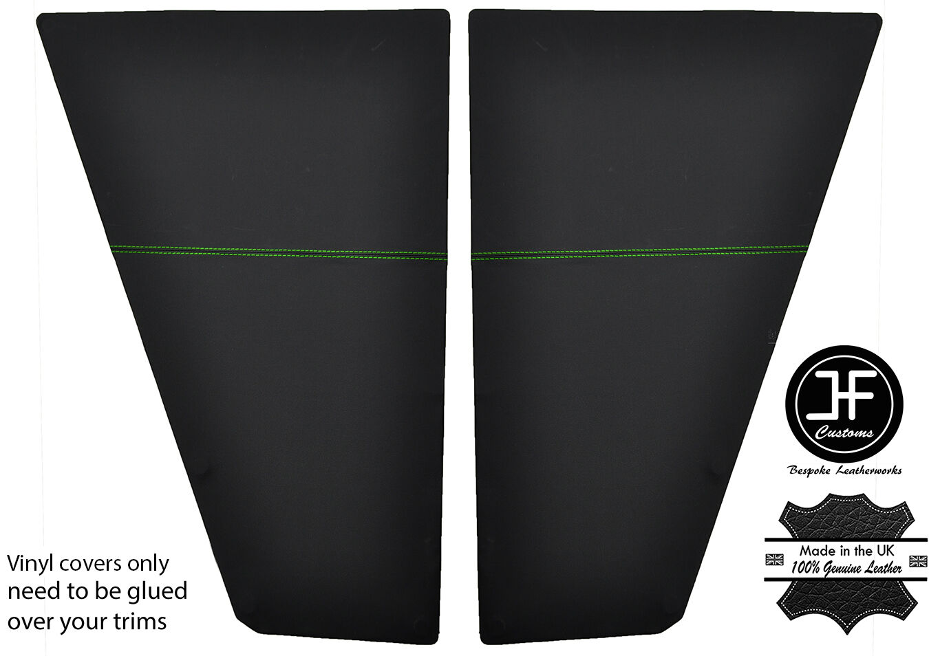 BLACK STITCH SIDE SLIDING DOOR CARD VINYL COVER FITS VW T25 T3 WESTFALIA