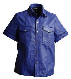 blaues-Hemd-Lederhemd-Kurzarm-blau-Groesse-XL-echt-Lammnappa-Leder