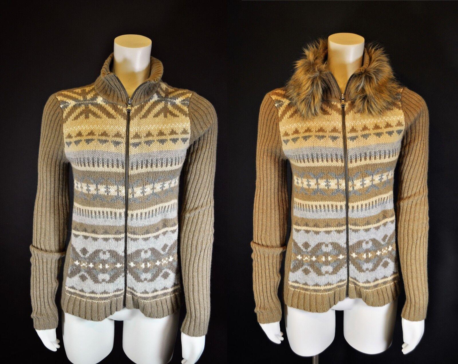 RALPH LAUREN Southwest zip CARDIGAN wool Cashmere Sweater Faux Fur collar S