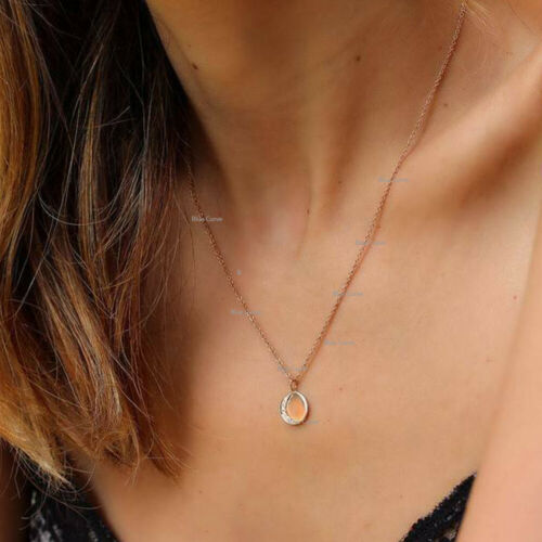 Details about  /Natural 0.10Ct Diamond Crescent Disc Necklace Solid 14k Yellow Gold FIne Jewelry