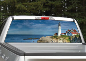 Truck Back Window Decals >> Details About Lighthouse Ocean Beach Rear Window Decal Graphic Truck Suv