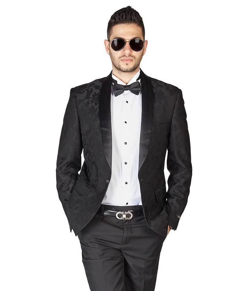 Black Floral Shawl Satin Lapel Jacket Only Tuxedo Slim Fit 1 Button Blazer AZAR
