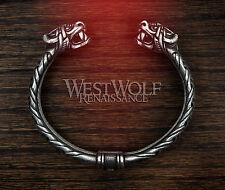Silver Viking Dragon Head Bracelet -- Norse/Odin/Wolf/Pewter/Jewelry/Torc/Skyrim
