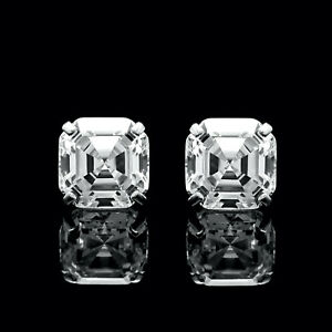 6CT-Asscher-Cut-Created-Diamond-Earrings-14K-White-Gold-Solitaire-Square-Studs