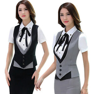 great prices cozy fresh official Details about Women Slim Sleeveless Uniform Office Workwear Formal Vest  Business Waistcoat New