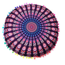 Retro Mandala Floor Pillow Cover Round Bohemian Pom Throw Sofa Mat Cushion Case