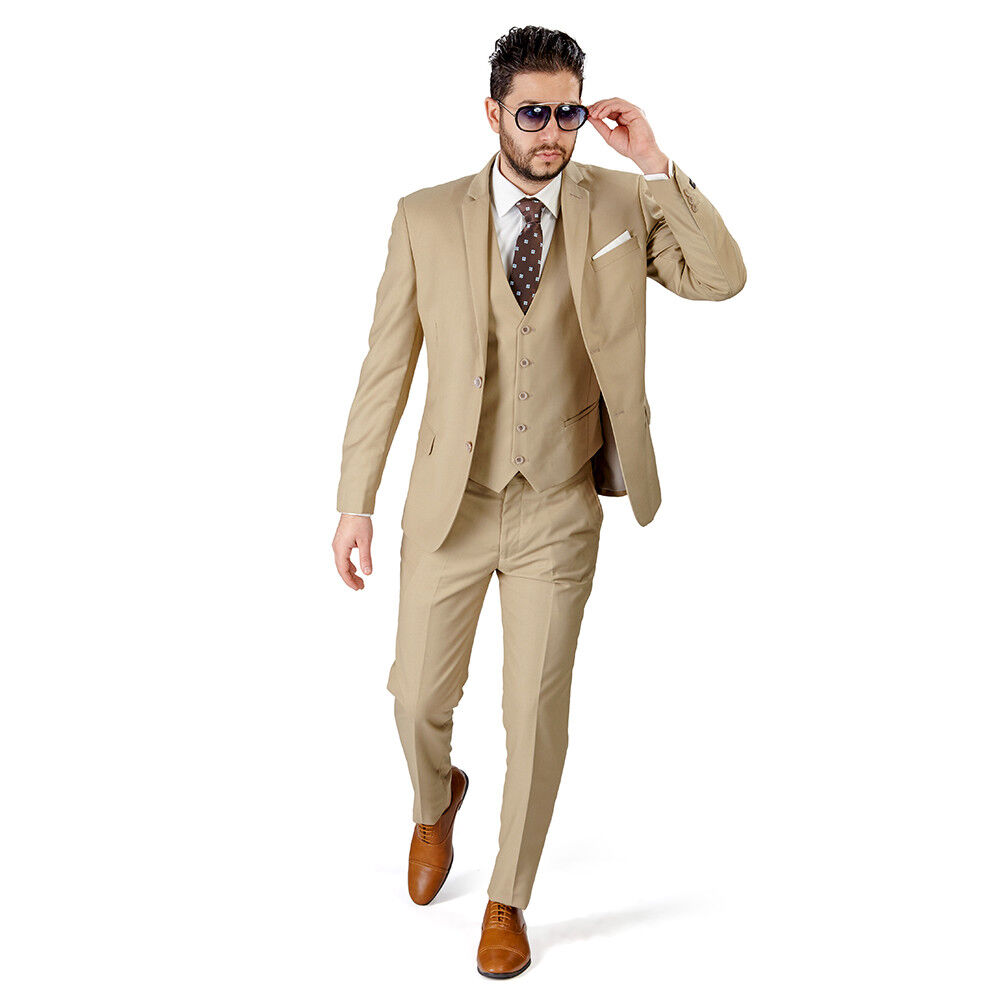 Beige Tan Slim Fit Suit Tuxedo 2 Button Notch lapel Vest Optional Fitted By AZAR