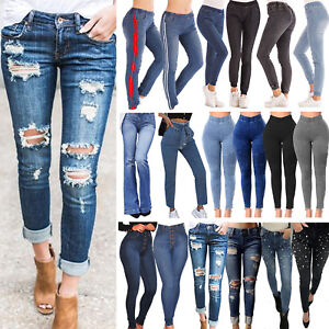 Women-Stretchy-Skinny-Denim-Jeans-Slim-Jeggings-High-Waist-Pencil-Pants-Trousers