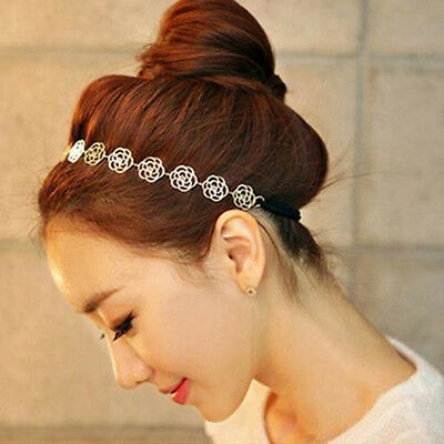 Womens Fashion Metal Chain Jewelry Hollow Rose Flower Elastic Headband M6
