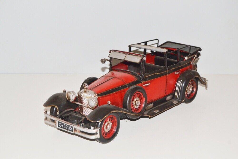 Modello di auto Mercedes 1930 1930 1930 nostalgia modello in lamiera metallo, 37 cm, NUOVO (KO) 5897a1