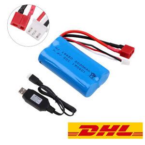 Lipo-Battery-7-4V-2000mAh-Akku-20C-T-Plug-mit-USB-Ladekabel-fuer-RC-Car-Truck
