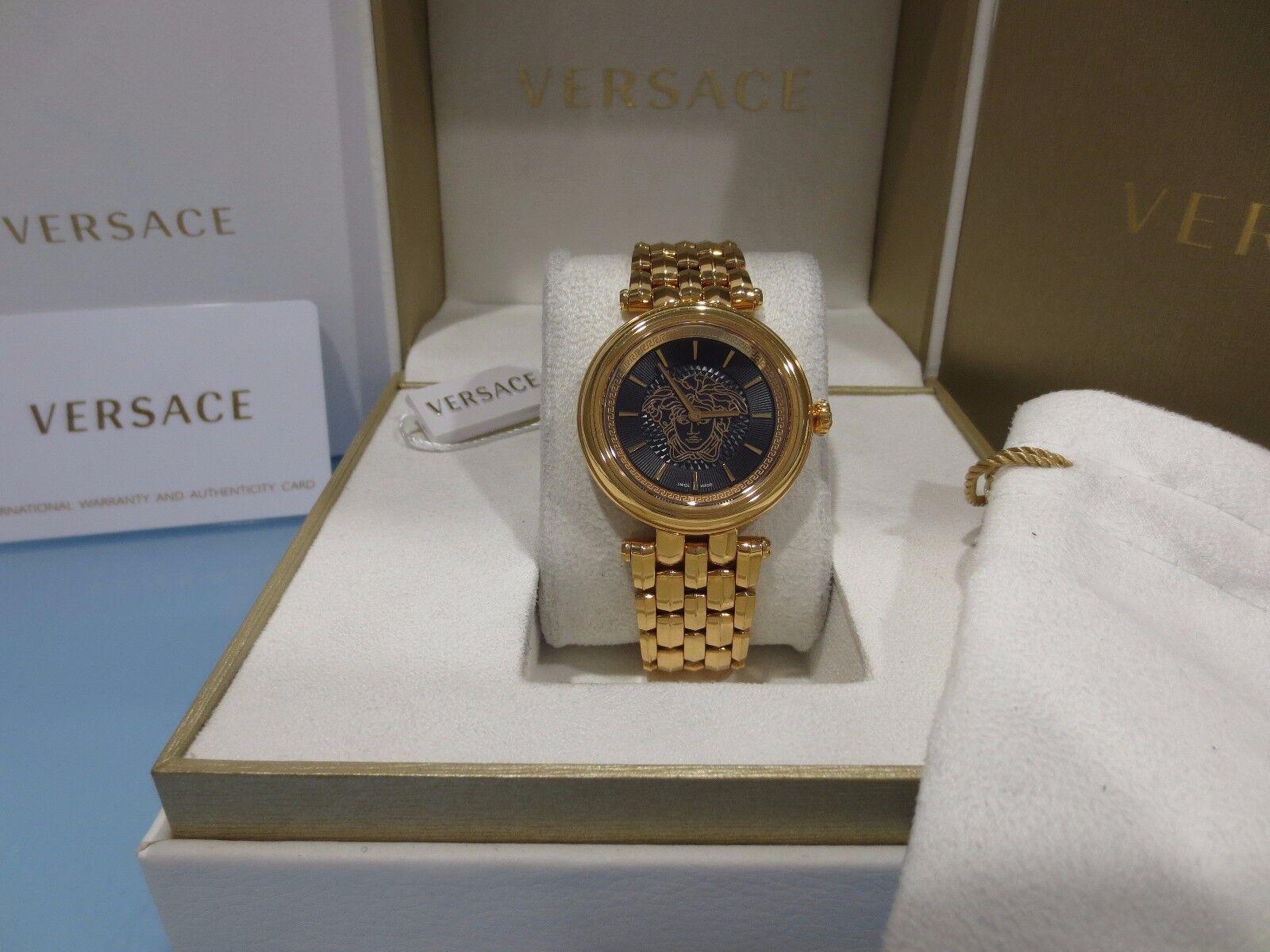 Versace Womens Vqe050015 Khai Black Dial Gold Ip Stainless Steel