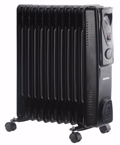 Daewoo 11 Fin 2500W Portable Oil Filled Radiator Heater with Thermostat Black