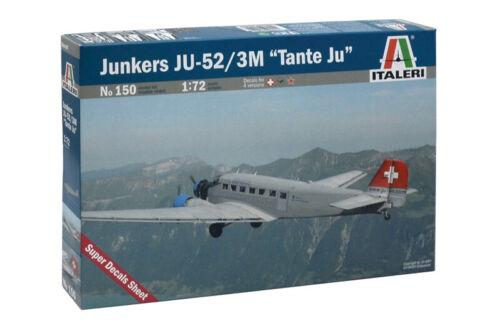 "Junkers JU-52 3M /""Tante Ju/"" Civilian Aircraft 1:72 Plastic Model Kit ITALERI"