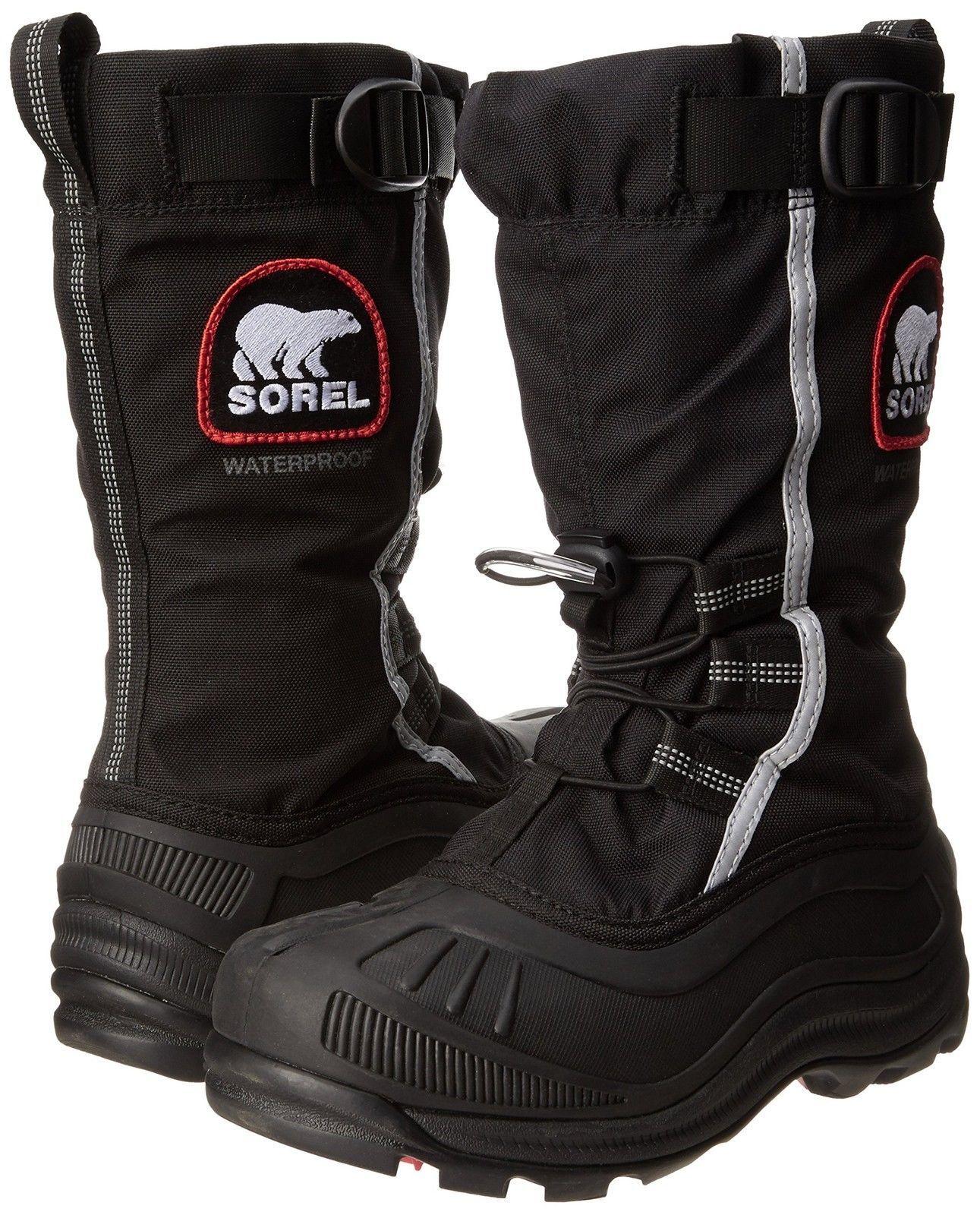 New in Box Sorel Women's Alpha Pac XT Boot Black/Red Quartz Size 7 SNOW BOOTS