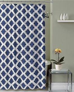 Navy Blue Taupe White Moroccan Fabric Shower Curtain