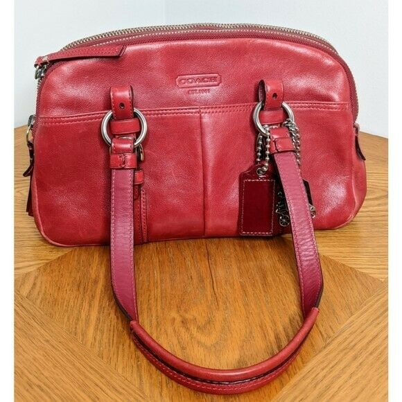 Coach Red Leather Bonnie Satchel Preowned - image 1