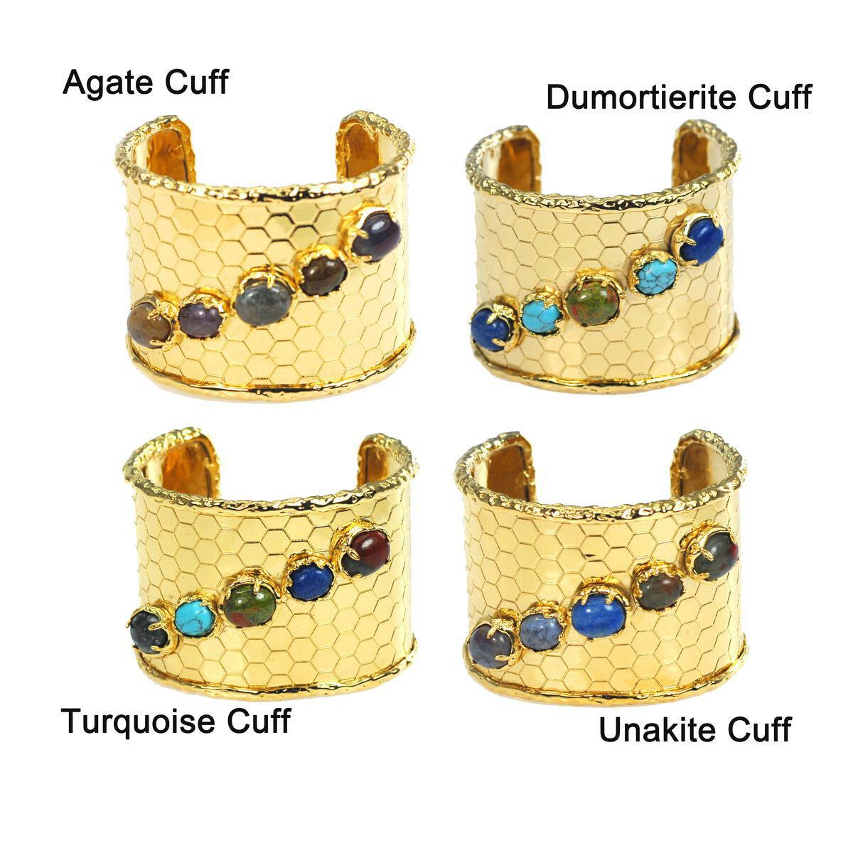 De Buman 14k gold Overlay Agate, Turquoise, Unakite or Dumortierite Bracelet
