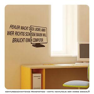 wandtattoo computer arbeitszimmer spr che deko wt496 ebay. Black Bedroom Furniture Sets. Home Design Ideas