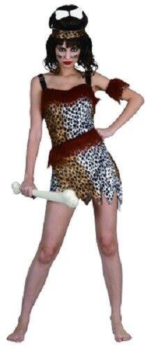 SW Ladies Costume Fancy Dress Cave Woman Hunter Jungle Jane Tarzan 8 10 12 14