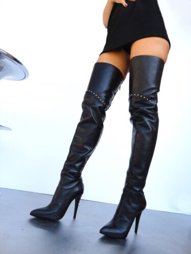 Boots 43 Nye Stiefel Leather Overknee Studs Black Cq Couture Custom Aqx4zwpEX6