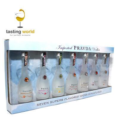 GESCHENKSET Pravda Wodka Tasting / Probierset mit 7 flavored Vodkas je 5cl