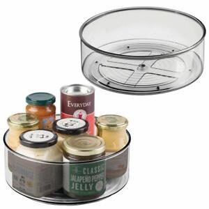mdesign plastic lazy susan spinning food storage turntable