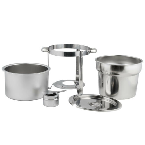 Choice 11 Qt Deluxe Chrome Accent Marmite Stainless Steel Silver Soup Chafer