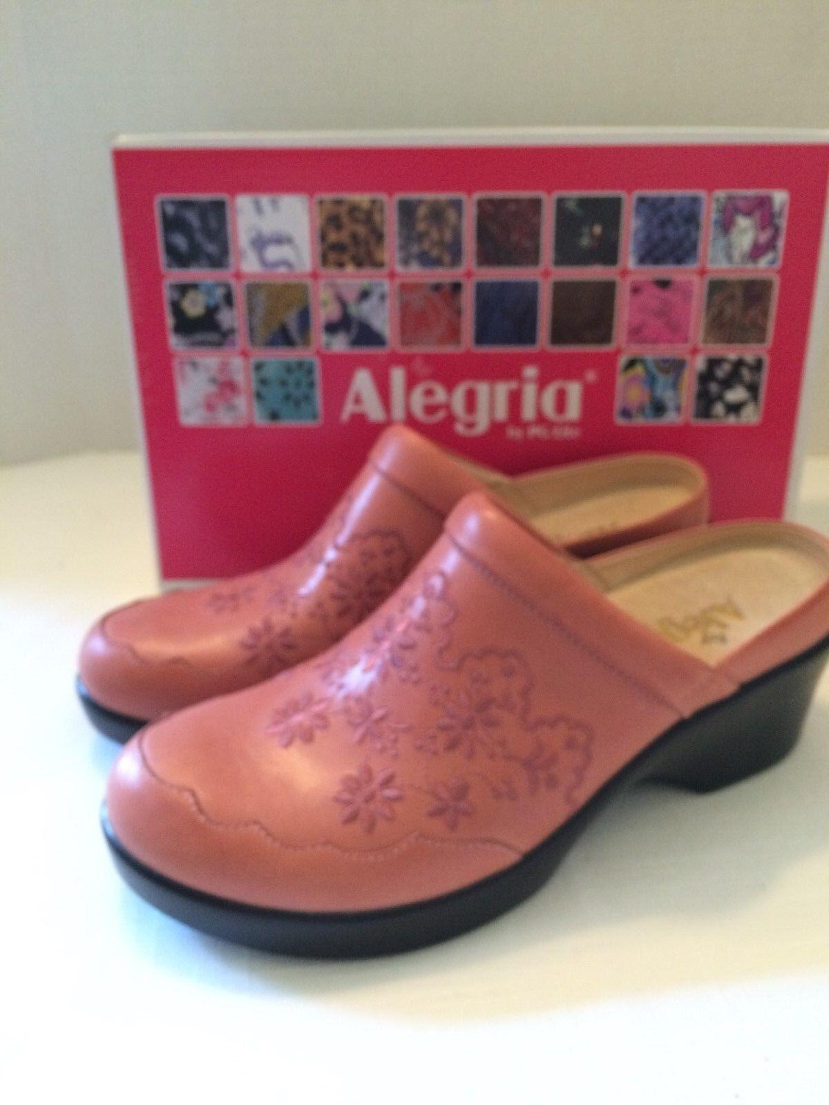 ALEGRIA EU Isabelle Salmon Leder Slip On Clogs Damenschuhe Sz EU ALEGRIA 38 Slip Resistant f1ac09