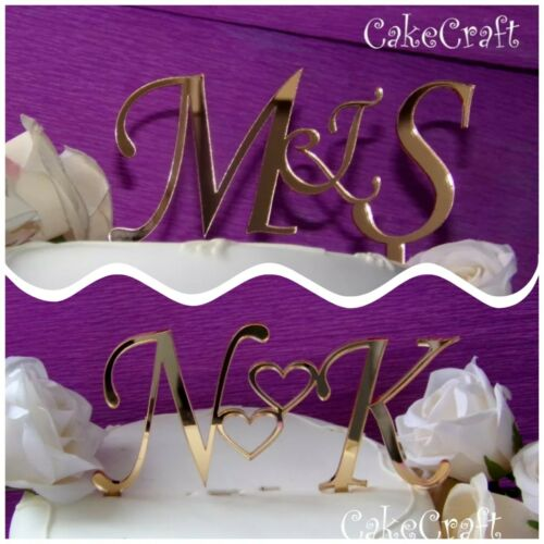 Gold Acrylic initials letters Custom made Wedding cake toppers decorations