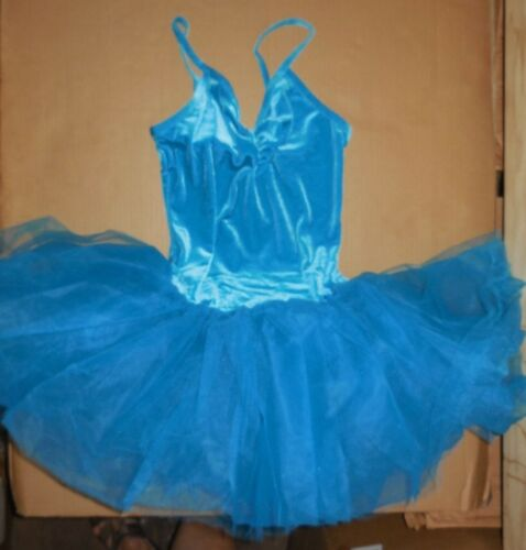 NWT Velvet Ballet Dance Costume Attached graduated tutu turquoise ch//adult