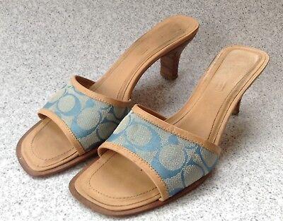 fe4e934dcf5b9 Coach Women's Sandals Size 8B Light Blue Coach Monogram Canvas ...