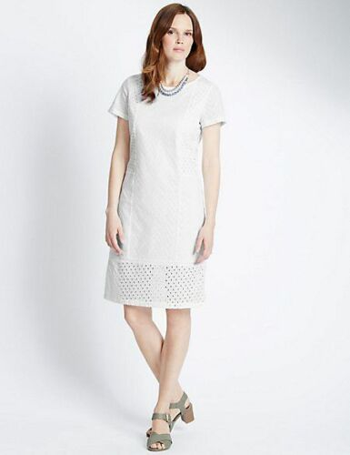 New M/&S Classic White Pure Cotton Broderie Shift Dress Sz UK 10 short /& 18 Short