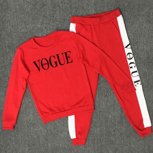 Womens 2PCS Tracksuits Letter Pants Sport Lounge Wear Ladies Tops Suit Plus Size