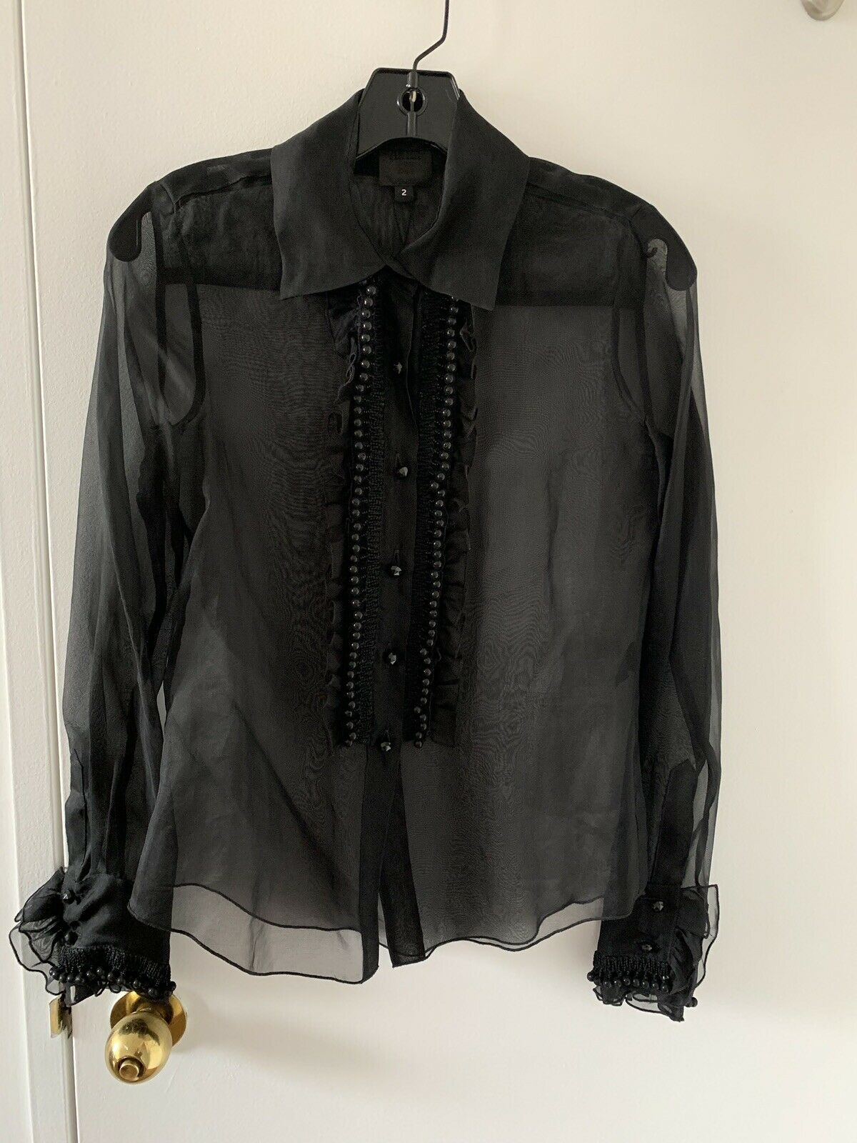 Rare NWT  Anna Sui Silk Fancy See Through Blouse Top, Ruffle, Jewel, Size 2
