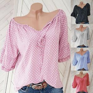 Damen-Ubergroesse-halb-Sleeve-Polka-Dot-Spitze-V-Ausschnitt-Bluse-Pullover-Tops-Shirt