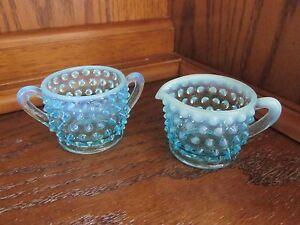 Fenton-Blue-Opalescent-Hobnail-Mini-Cream-and-Sugar-Set-Vintage
