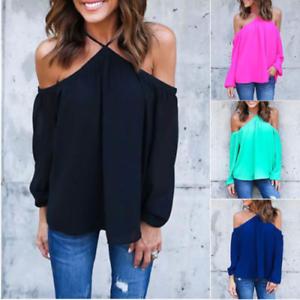 New Lady Off épaule solide Tops Chemise à manches longues Casual Blouse Lâche T-Shirt