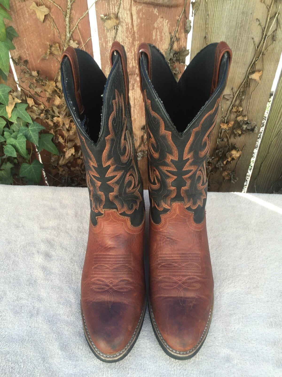 Larojoo botas de Vaquero Marrón Cuero Occidental botas PA6655 para hombres D