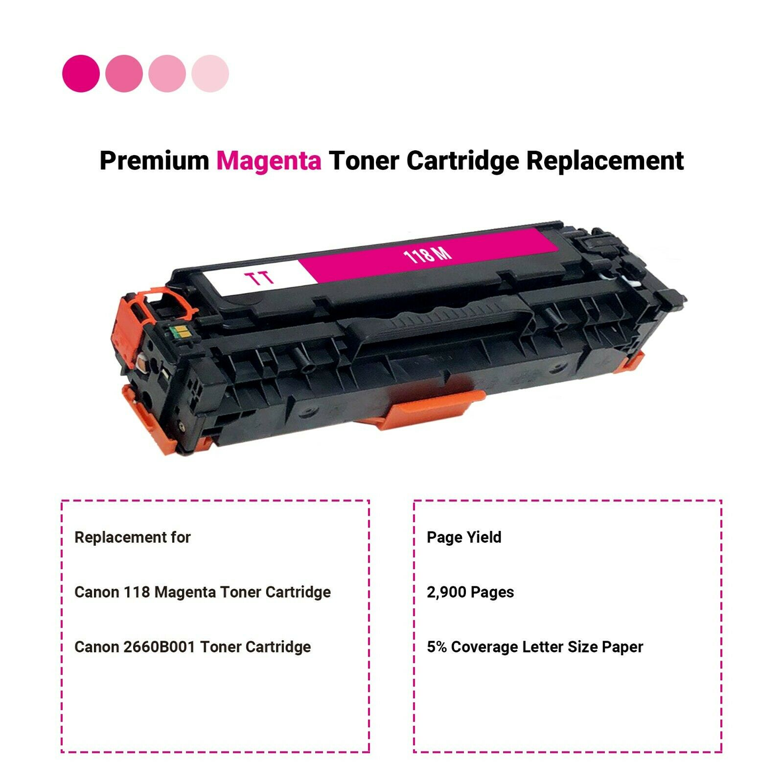 MF8380Cdw MF729Cdw 2660B001 LBP7660Cdn Laser Printers for Canon Color imageCLASS MF8350Cdn Cartridge 118 Magenta MF726Cdw 1 Pack Canon Genuine Toner MF8580Cdw LBP7200Cdn