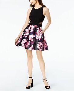 04d11842 Details about NEW $349 XSCAPE WOMEN'S BLACK PINK PURPLE FLORAL-PRINT FIT & FLARE  DRESS SIZE 10