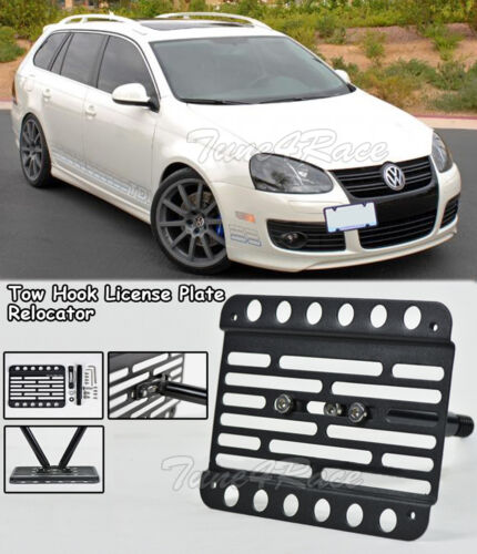 For 10-14 VW Jetta Wagon 5Dr Front Bumper Tow Hook License Plate Bracket MK6