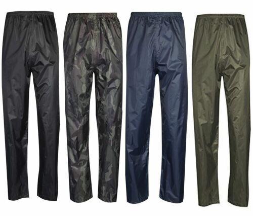 Mens Waterproof Fishing Hiking Over Trousers Womens Elasticated Waist Rain Pants